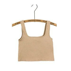Ribbed Nude Cropped Tank Top